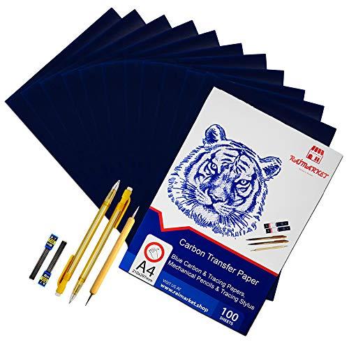 100 Blatt blaues Kohle Transferpapier Graphitpapier mit Prägestift-Set und Druckbleistift für Holz, Papier, Segeltuch etc. von Raimarket   Premium Quality Carbon Paper