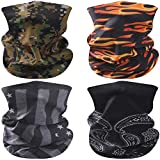 Facool Face Coverings, Sun UV Protection Face Mask Neck Gaiter Windproof Scarf Sunscreen Breathable Bandana for Sport&Outdoor 4 Pack