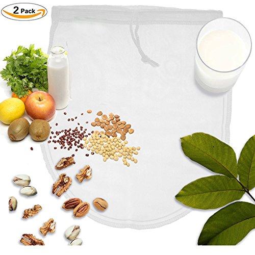 Cuisine Nussmilchbeutel aus reinen Fasern für vegane Nussmilchherstellung inklusive Rezept in nachhaltiger Verpackung Mandelmilch selber machen perfekter Milchersatz 100% Nylon ohne BPA Zusätze