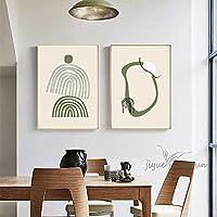 抽象的な緑の葉の花ハート壁アートキャンバス絵画北欧のポスターとプリント壁の写真リビングルームの装飾-50x75cmx2フレームなし