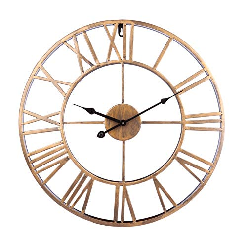 FOOSKOO Wall Clocks Rétro Creux Mur Hanger Horloge Fer Vintage Lit Salon Romain Numberial Suspendu Horloge Ménage Mur Décor 50 CM