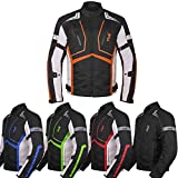 Motorcycle Jacket For Men Textile Motorbike Dualsport Enduro Motocross Racing Biker Riding CE Armored Waterproof All-Weather (Orange, M)