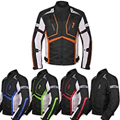 &#9989CE APPROVED ARMORS (REMOVABLE) on the Motorcycle Moto Jacket's Back, Elbows & Shoulders. 3-Color Contrast HWK Design. &#9989ALL WEATHER motorcycle jackets mens, 600D CORDURA CONSTRUCTION Textile Motorcycle Racing Jacket , The HWK Motorcycle Jac...
