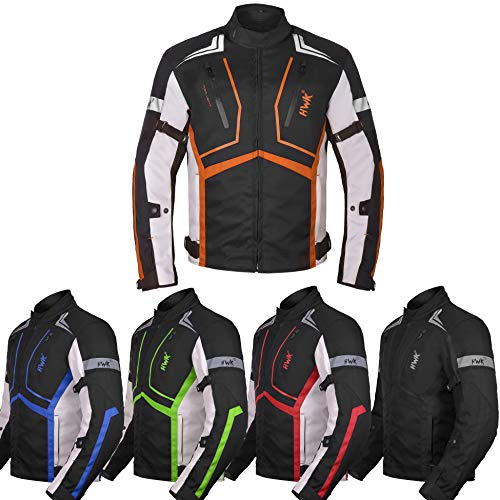 Motorcycle Jacket For Men Textile Motorbike Dualsport Enduro Motocross Racing Biker Riding CE Armored Waterproof All-Weather (Orange, XL)