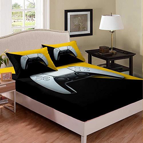 Homewish Juego de cama para niños, juego de cama individual, juego de cama para consola de juegos Gamepad, sábana bajera ajustable para niño y juventud con botones de acción, color amarillo negro