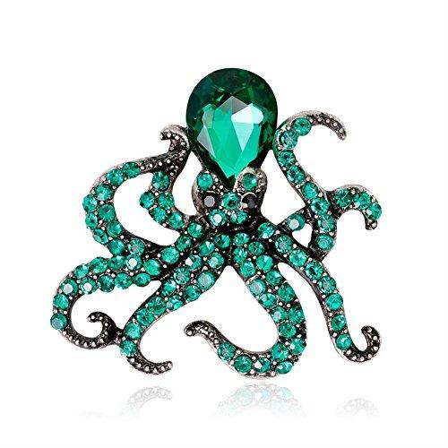 PULABO kreativ1X Green Octopus Brosche Frauen Corsage Kinder Geburtstagsgeschenk Kragen Revers Abzeichen Schmuck Schals Schal Clip Dame Schmuck Tasche Ornament Männer Geschenk Langlebig und nützlich