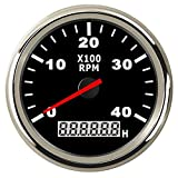 85mm 4000RPM Tachometer Gauge with Hourmeter Universal 4000 Tacho Meter RPM Gauge with Red Backlight for Marine Car Truck Boat