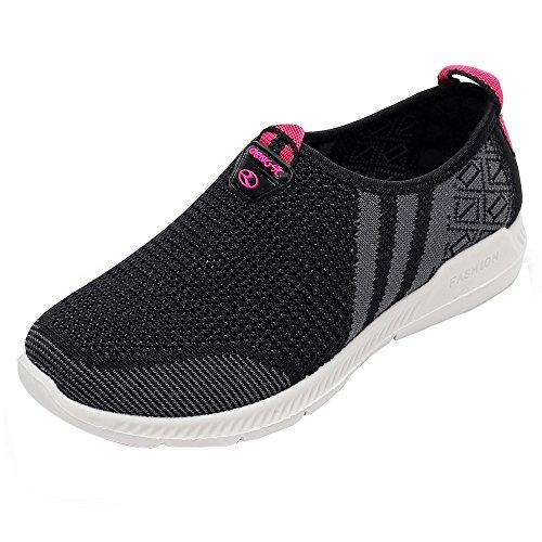 GongzhuMM Baskets Femmes Sneakers sans Lacets Chaussures de Sport Antidérapant pour Dames Chaussures de Course Noir/Gris/Rouge 36-39 EU