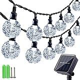 Qedertek Guirnaldas Luces Exterior Solar, Cadena de Bola Cristal Luz para Exterior, 10.85M 60 LED, Guirnalda Luminosa Impermeable, Luces Decoración para Jardín, Casa, Bodas (Blanco)