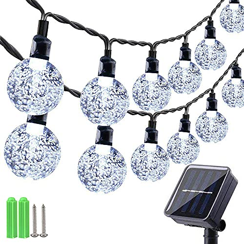 Qedertek Outdoor Solar String Lights, 60 LED Solar Garden Lights, Waterproof 8 Modes Solar Powered Fairy Lights for Garden, Patio, Porch, Gazebo, Bistro, Party, Summer Decorations (White)