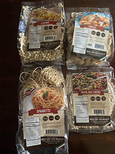 The Great Low Carb Bread Company Variety sampler pack- Shells pasta, Elbows pasta, Spaghetti pasta, Rice pasta(Orzo)