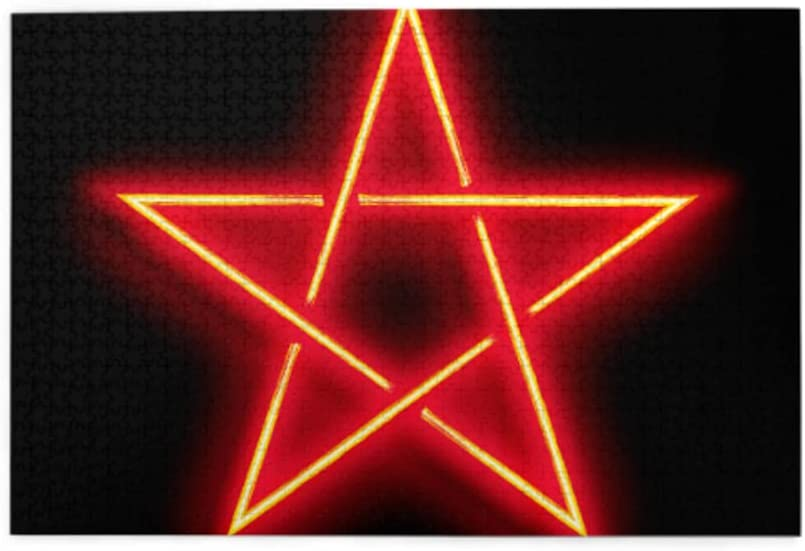 1000 Piece Chicago Mall Puzzles for Adults-Wooden Jigsaw Neo Puzzle Pentagram Inexpensive