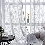 CUTEWIND Cortinas de lino con ojales, semitransparentes, textura de lino, para salón, dormitorio, ventana, 140 x 160 cm, gris, 2 unidades