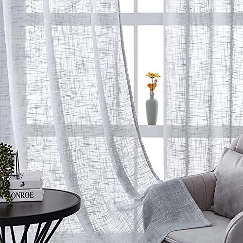 CUTEWIND Gardinen Schals in Leinen-Optik Leinenstruktur Vorhänge Schlafzimmer Transparent Vorhang für Kleine Fenster Doris Grau, kurz (2er-Set, je 145x140cm)