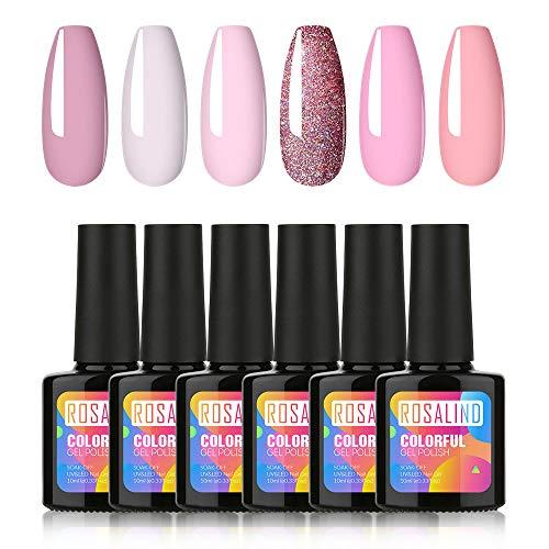ROSALIND Nagellack Gel Gellack UV Rosafarbene Serie Semi-permanent Soak Off Varnish Pastell Lack 6 Farben