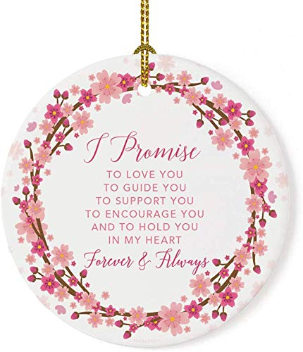 Lplpol 3 Inch I Promise to Love You Cherry Blossom Wreath Christmas Ornament Tree Holiday Ornament