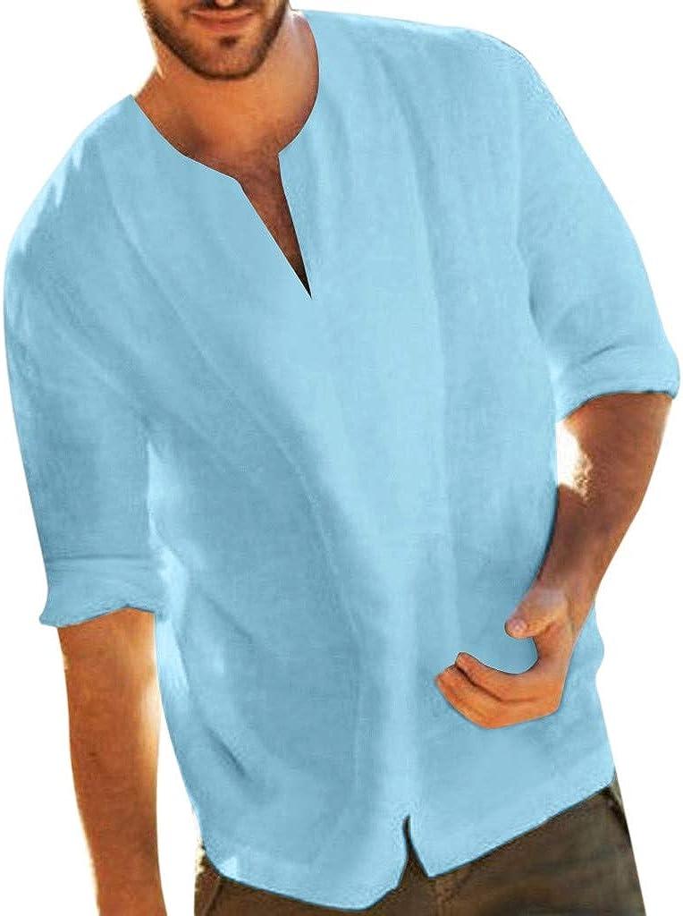 FGDJEE Men's Cotton Blend Henley Shirt Baggy Long Sleeve Casual Beach T Shirts Three Quarter V Neck Tops Blouses