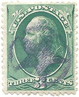 1879 US Postage Stamp Fancy Cancel (1) Star In Circle # Cent Washington, Green, Scott #184