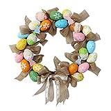 Kslogin Guirnalda de guirnalda, diseño de huevo de Pascua nórdico, guirnalda de simulación, decoración de Pascua colgante para puerta, surtido, 39,7 cm