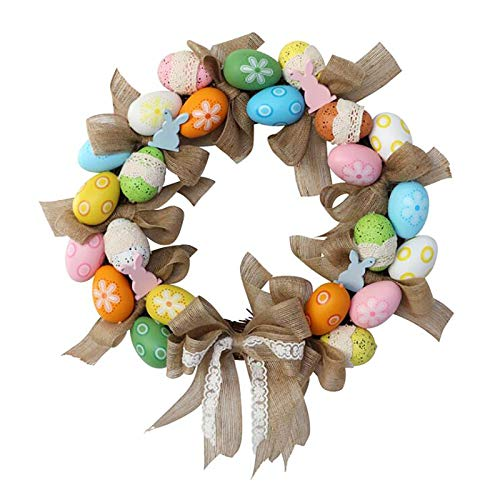 GRANDLIN Easter Egg Bow Decorative Wreath,Easter Egg Garland for Front Door Decoration Hanging Ornaments,40cm Colorful Rattan Circle Easter Eggs Rabbit Bow Wreath