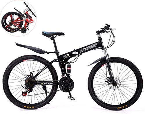 24 Inches Double Shock Absorption Foldable Bicycle, Unisex High-Carbon Steel Variable Speed Mountain Bike 6-11,Black,24in (27 Speed) fengong (Color : Black)