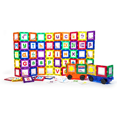 of machine toy with lights dec 2021 theres one clear winner PicassoTiles 136 Piece S.T.E.A.M. Building Block Set with 66 Magnetized Clip-in Insert Cards Toy Construction Kit PT136 Magnet Building Tiles Clear Color Magnetic 3D Educational Blocks Click-in Card