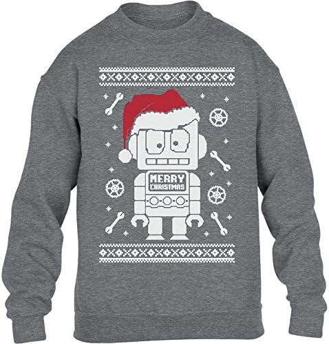 Kids S/üsser Roboter mit Nikolausm/ütze Weihnachten Kinder Pullover Sweatshirt