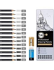 Telgoner zestaw ołówków do szkicowania, 12B 10B 8B 7B 6B 5B 4B 3B 2B HB 2H 4H 6H dla dzieci i dorosłych z temperówką, gumka do ścierania, piórnik