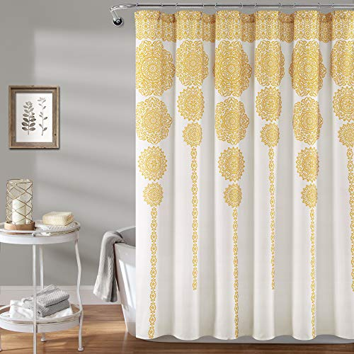 "Lush Decor, Yellow Stripe Medallion Shower Curtain-Fabric Mandala Bohemian Damask Print Design, x 72"", Blue, 72"" x 72"""