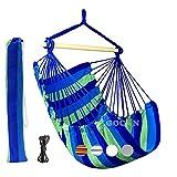 GOCAN Chaise hamac Grande balançoire hamac, Charge 110 X 150cm 150 kg, Chaise Suspendue en Coton Barre d'écartement en Bois Dur Chaise Large pivotante (Bleu/Vert)