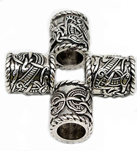 4pcs Large Norse Viking Dragons Rune Beads for Hair Beard for Paracord Bracelet Pendant Necklace DIY