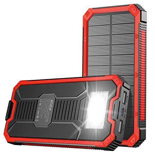 Portable Charger Power Bank 15000mAh, Elzle Solar Charger, Solar Power Bank Battery Pack, High-Speed Charging Solar Phone Charger for iPhone, Samsung and More. (red)