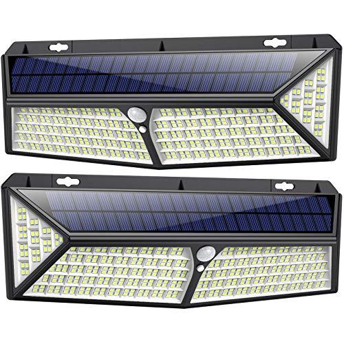 Kilponen Luz Solar Exterior【430 LED Con Carga USB】Foco Solar Exterior 270º Iluminación 4400 mAh Lámpara Solar con Sensor de Movimiento y 3 Modos Inteligentes para Jardín Camino Garaje - 2 Paquete