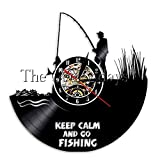 FDGFDG Mantieni la Calma e Vai a Pescare Orologio da Parete in Vinile Orologio da Uomo da Pesca Orologio da Parete Arte per la casa Decorazioni per la casa Regalo da Babbo Natale