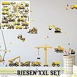 XXL Wandtattoo Set verschiedene Motive | Kinderzimmer Aufkleber bunt Wanddeko Baufahrzeuge Baustellen Fahrzeuge Autos