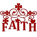 Faith Wall Sign Metal Decorative Faith Wall Metal Spiritual Decorations Metal Cutout Red Faith Metal Wall Art for Home Religious Hanging Wall Decor, Nice for Home and Presents