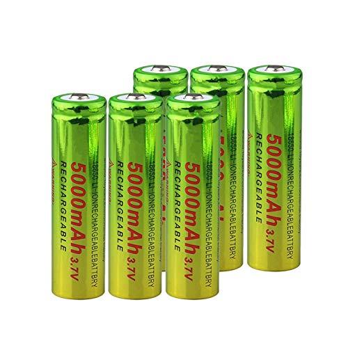 RitzyRose Batería de iones de litio de 3,7 V, 5000 mAh, 18650, batería recargable para linterna eléctrica, 6 unidades