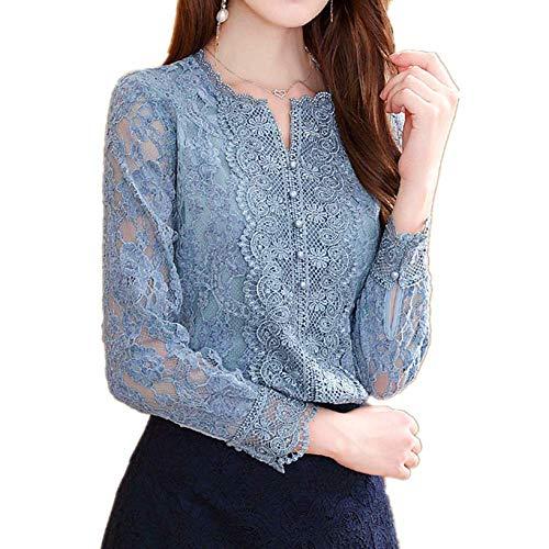 YRIBRA Western Lace Top - Camisa de Manga Larga para Mujer Azul Azul Claro M