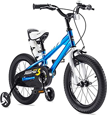 RoyalBaby Boys Girls Kids Bike 16 Inch BMX Freestyle 2 Hand Brakes Bicycles with Training Wheels Kickstand Child Bicycle Blue