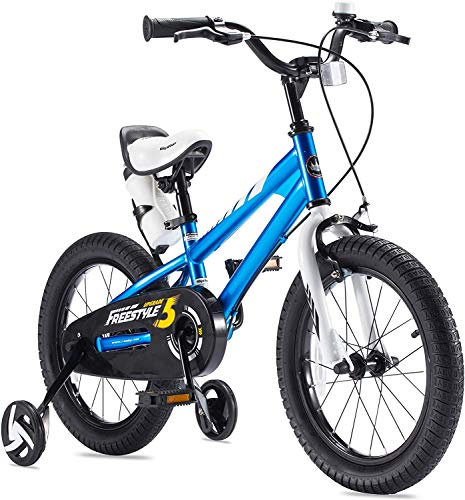 RoyalBaby Boys Girls Kids Bike 14 Inch BMX Freestyle 2 Hand Brakes Bicycles with Training Wheels Child Bicycle Blue