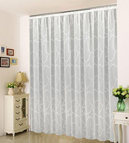 """Sun World Maßgeschneiderte weiße Scherli Voile Store Gardine """"Fashion"""", inklusive Kräuselband (Universalband), Vorhang nach Maß, Höhe 90 – 295 cm, Breite 1 –12 Meter (Weiß, 235 x 300 cm/HxB)"""