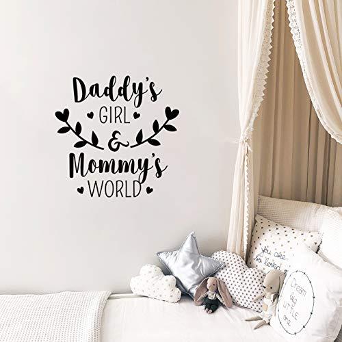 Autocollant mural en vinyle – Daddy's Girl and Mommy's World – 58,4 x 57,1 cm – Jolie petite fille pour bébé, maison, appartement, crèche, salle de jeux, chambre d'enfant avec citations