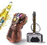 Martillo de Thor, guante de Thanos, abrebotellas, llave de los Vengadores, regalo para cerveza, cerveza, llavero (metal)