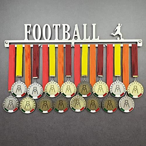 Football - Colgador de medallas Deportivas - Medallero de Pared Jugador de fútbol, Pelota - Sport Medal Hanger - Display Rack (450 mm x 80 mm x 3 mm)
