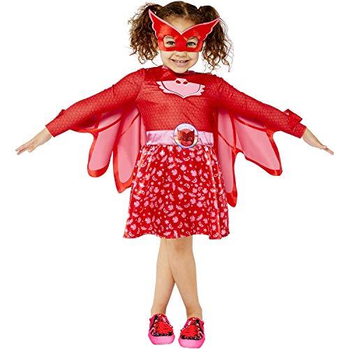amscan 9908860 Mädchen Kind PJ Masks Owlette Kostüm (Alter 3-4 Jahre), Rot