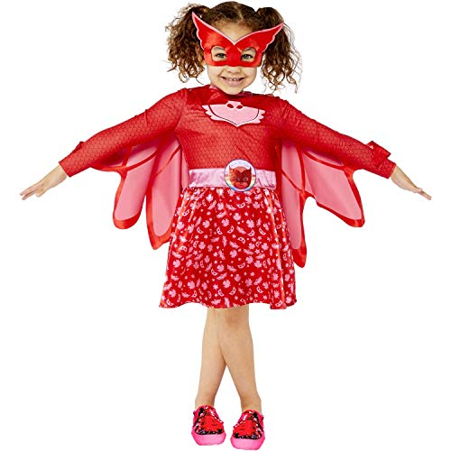 amscan 9908860 Girls Child PJ Masks Owlette Fancy Dress Costume (Age: 3-4 Years), Red