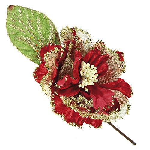 Stefanazzi 4 pcs Pica navideño Rosa en Terciopelo Rojo Dorado Decoraciones de Bricolaje para el árbol de Navidad Paquetes de Regalo Ramas Decorativas para una Guirnalda de Centro de Mesa Realista