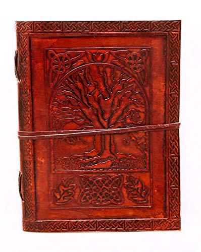 18 cm Notizblock Notizen Notizbuch Seiten Handgemacht Album Tagebuch Leder mit Lederbezug Geschenke Antik Keltische Baum des Lebens