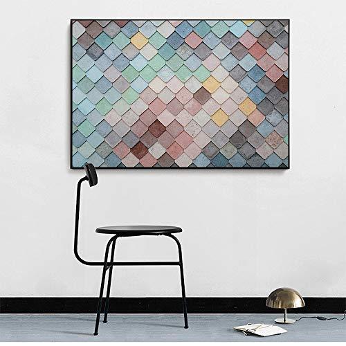 Santangtang Kleurrijke vierkant achtergrondplakkaat en druk op canvas drukken het frameloze kunstwandfoto-interieur van de woonkamer