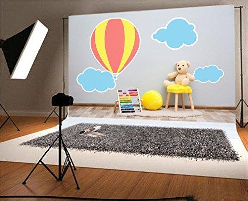 YongFoto 1,5 x 1 m vinyl foto achtergrond kruk met speelgoed in de buurt van de muur kinderkamer fotografie achtergrond voor fotoshooting portretfoto's party kinderen fotostudio rekwisieten